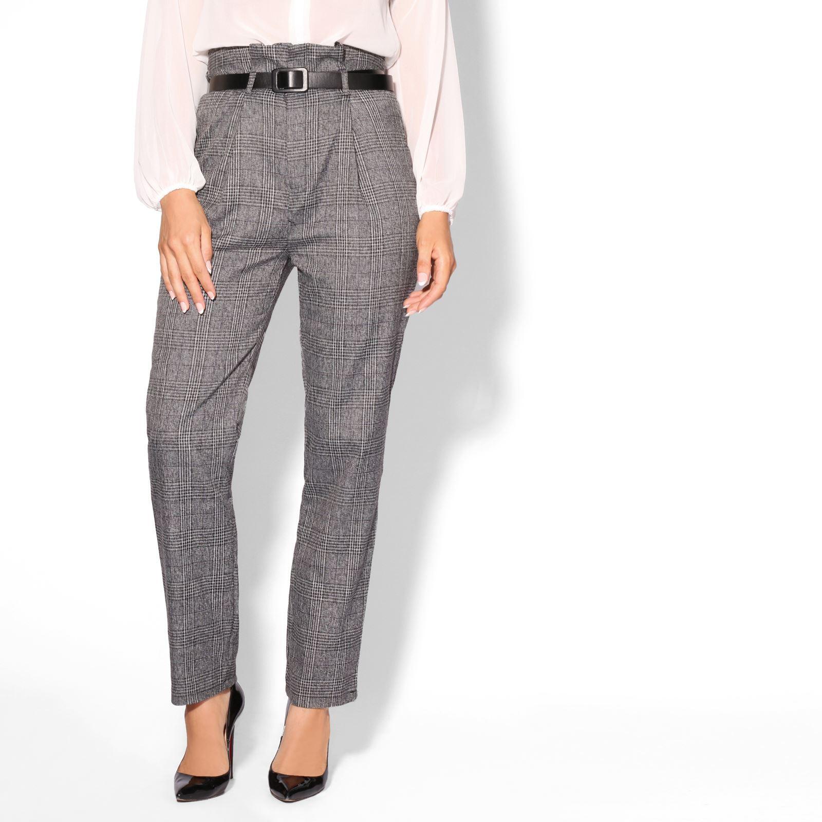7d667f2e42cb Women Belted Paper Bag High Waist Tartan Check Cigarette Trousers Smart  Pants