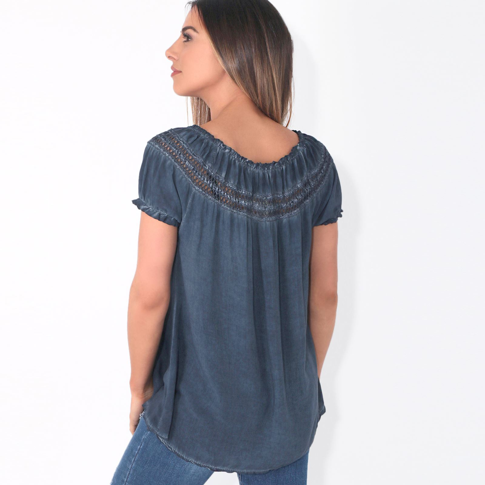 Womens-Off-Shoulder-Blouse-Gypsy-Boho-Cotton-T-Shirt-Top-Tunic-Summer-Loose-Fit thumbnail 11