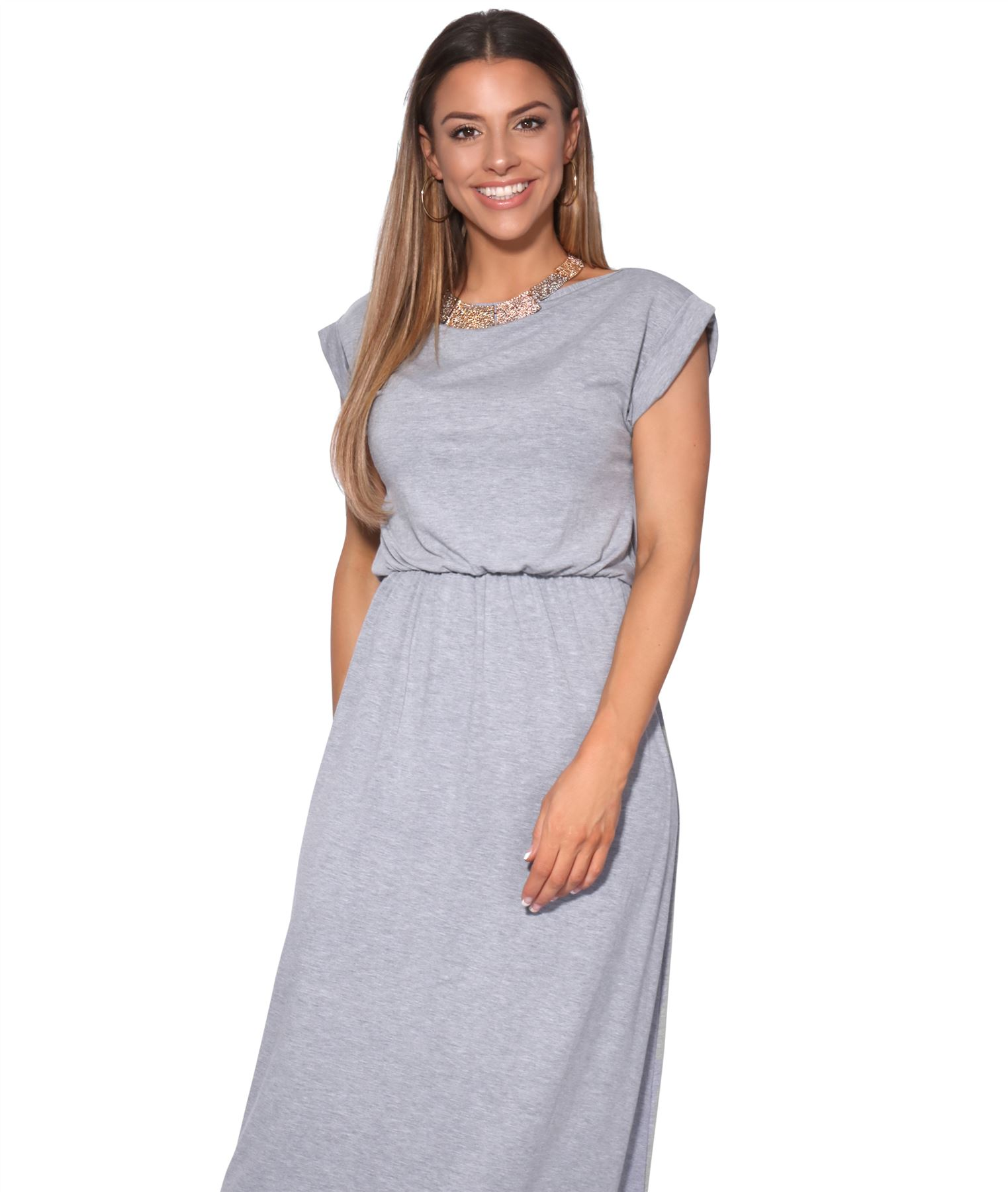 Women-Winter-Dress-Ladies-Plain-Maxi-Crew-Neck-Stretch-Loose-Long-Tog-Casual thumbnail 15