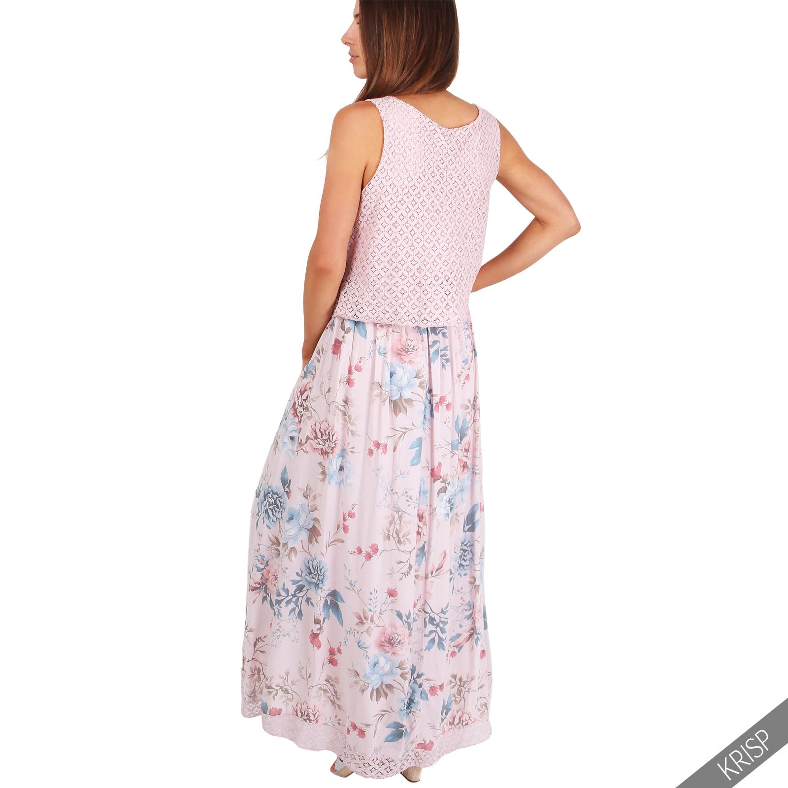 Womens Ladies Sleevless Gypsy Boho Floral Summer Maxi ...