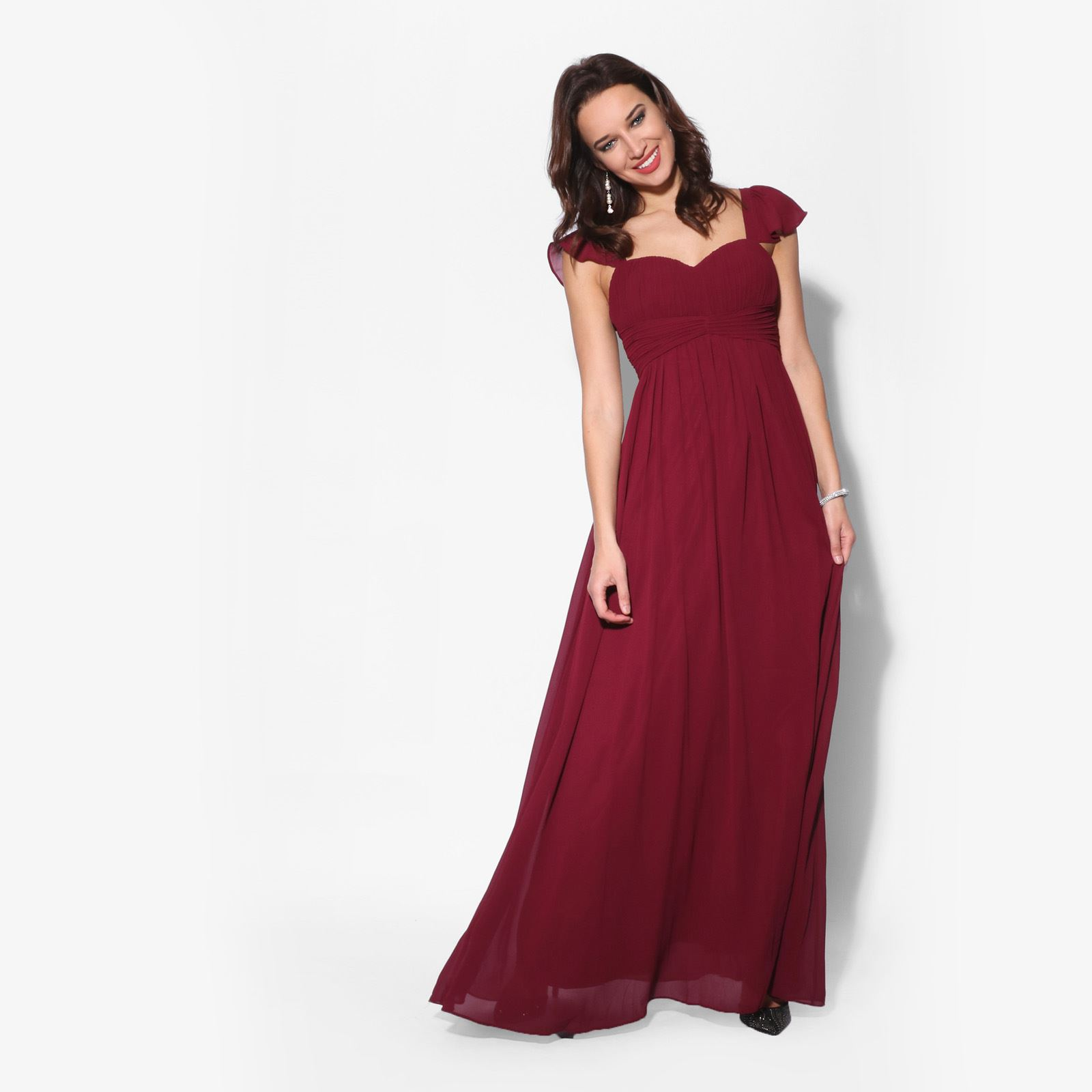 7a672a5af4a2 Women Frill Sleeve Maxi Dress Ladies Chiffon Long Cocktail Party Evening  Gown