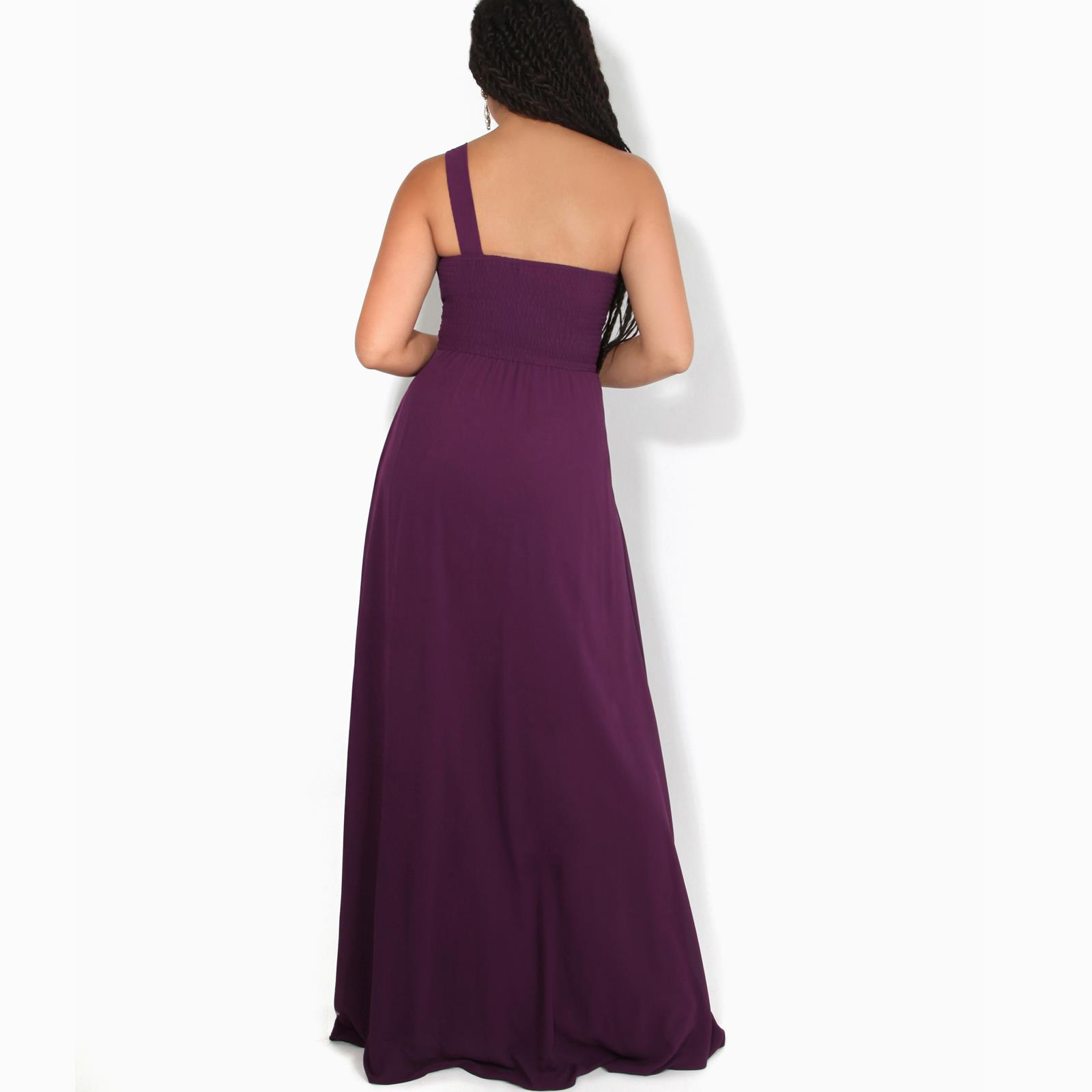 Womens-Wedding-Bridesmaid-Prom-Dress-Formal-One-Off-Shoulder-Long-Evening-8-18 thumbnail 8