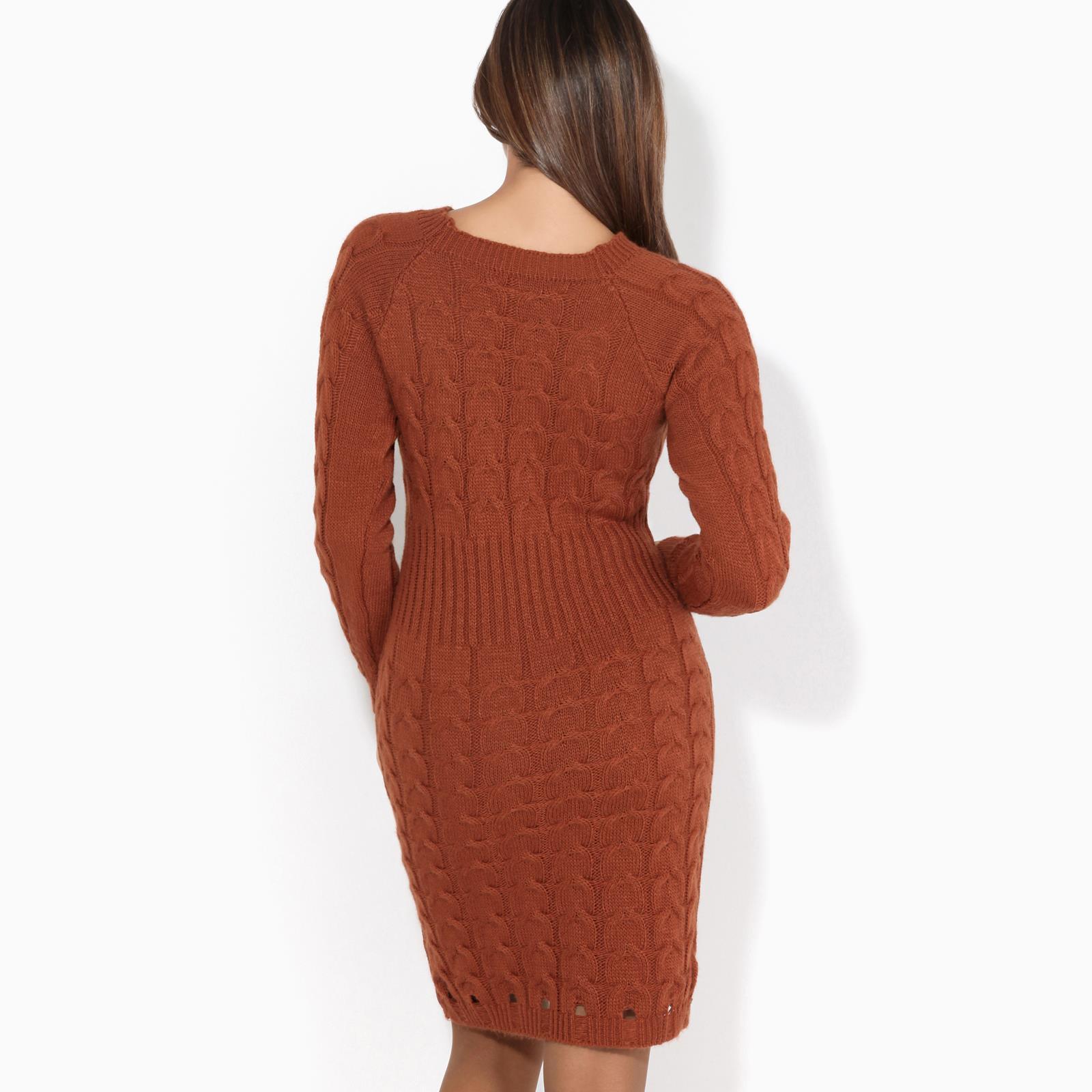 Womens-Ladies-Jumper-Dress-Longsleeve-Mini-Warm-Winter-Knit-Top-Bodycon thumbnail 19