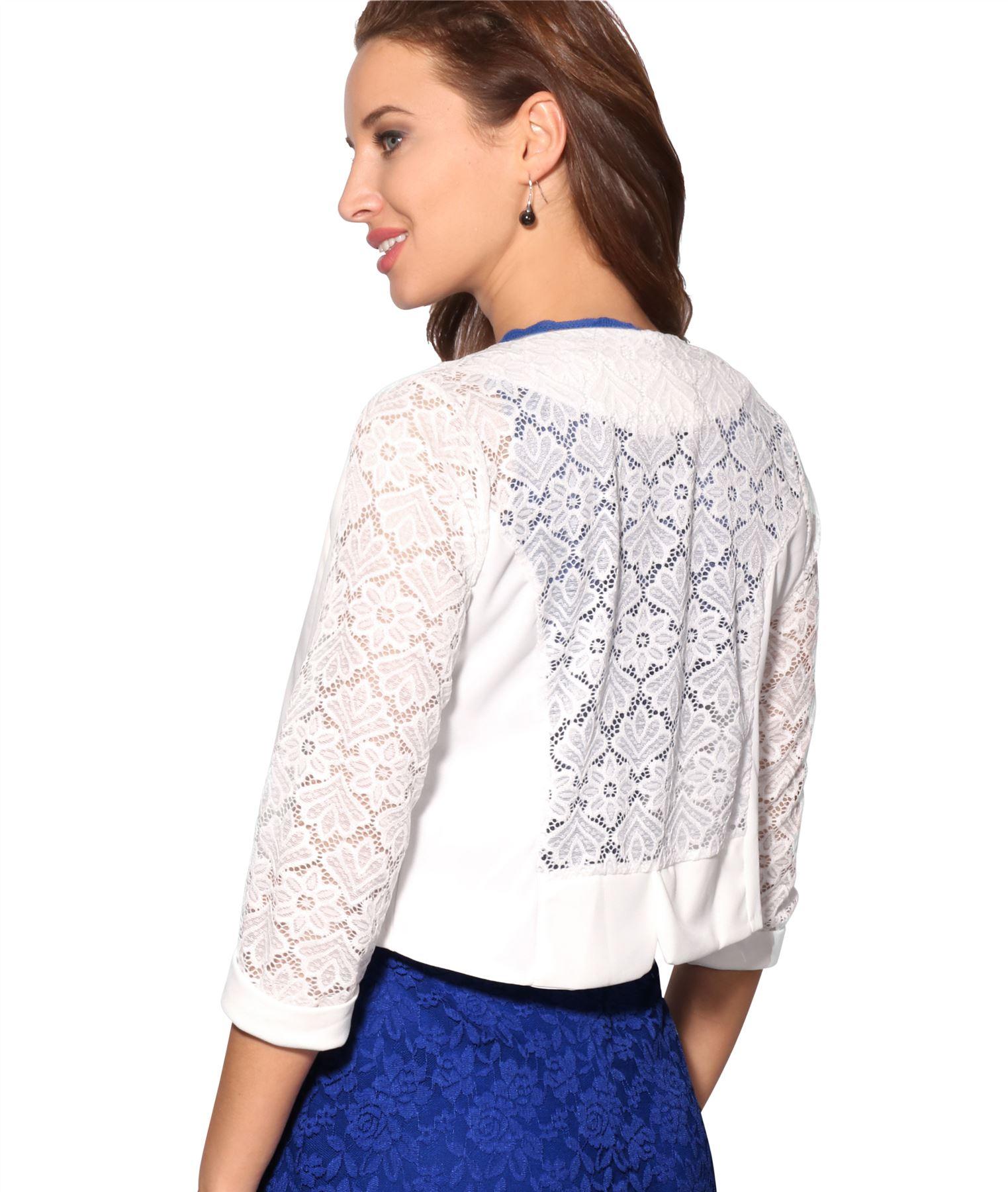 Womens-Ladies-Bolero-Lace-Shrug-Short-Sleeve-Cardigan-Cropped-Party-Top-Jacket thumbnail 6