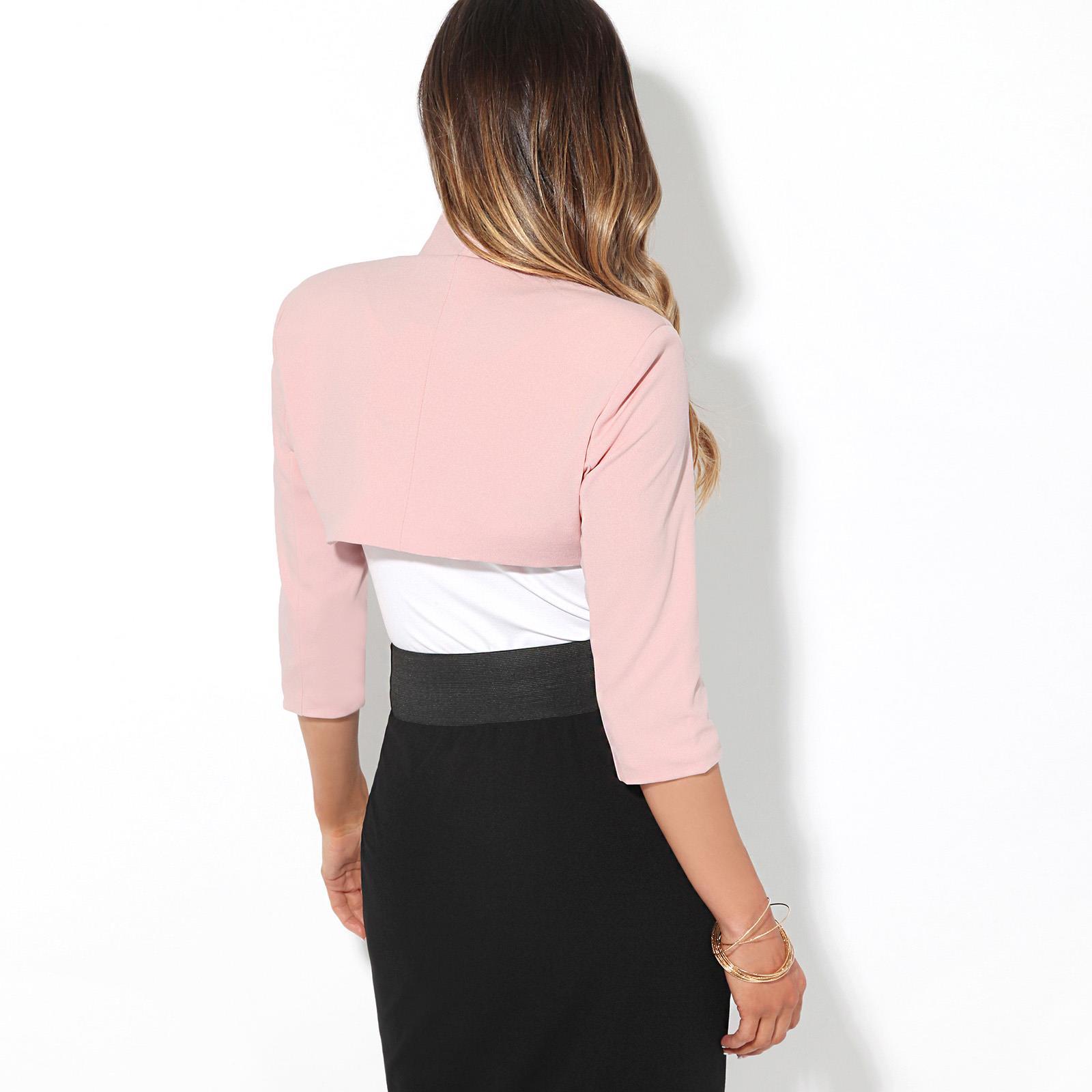 Womens-Tailored-Bolero-Shrug-Cropped-Top-Short-Sleeve-Party-Blazer-Jacket-Coat thumbnail 14