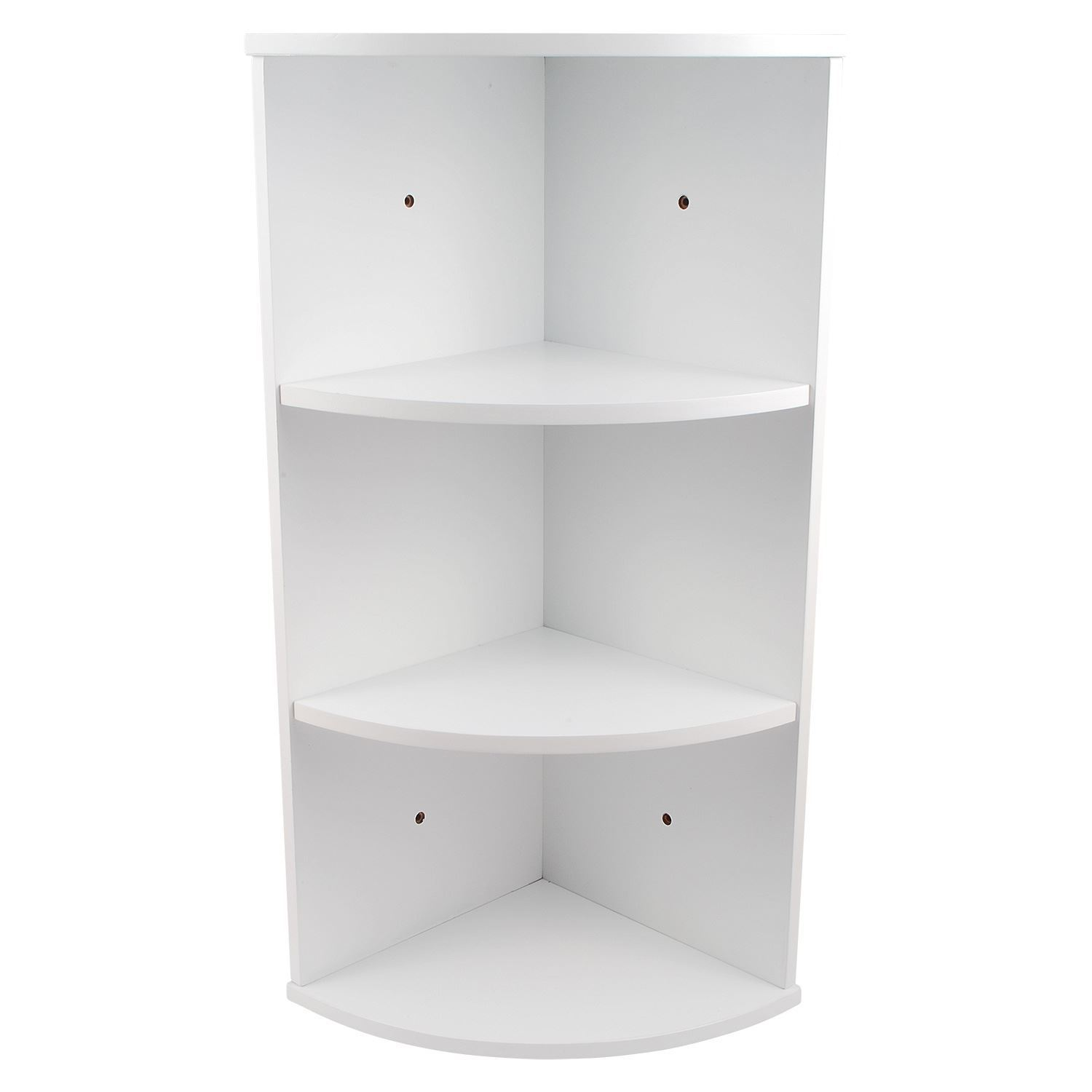3 Tier White Wooden Corner Wall Mounted Bathroom Storage