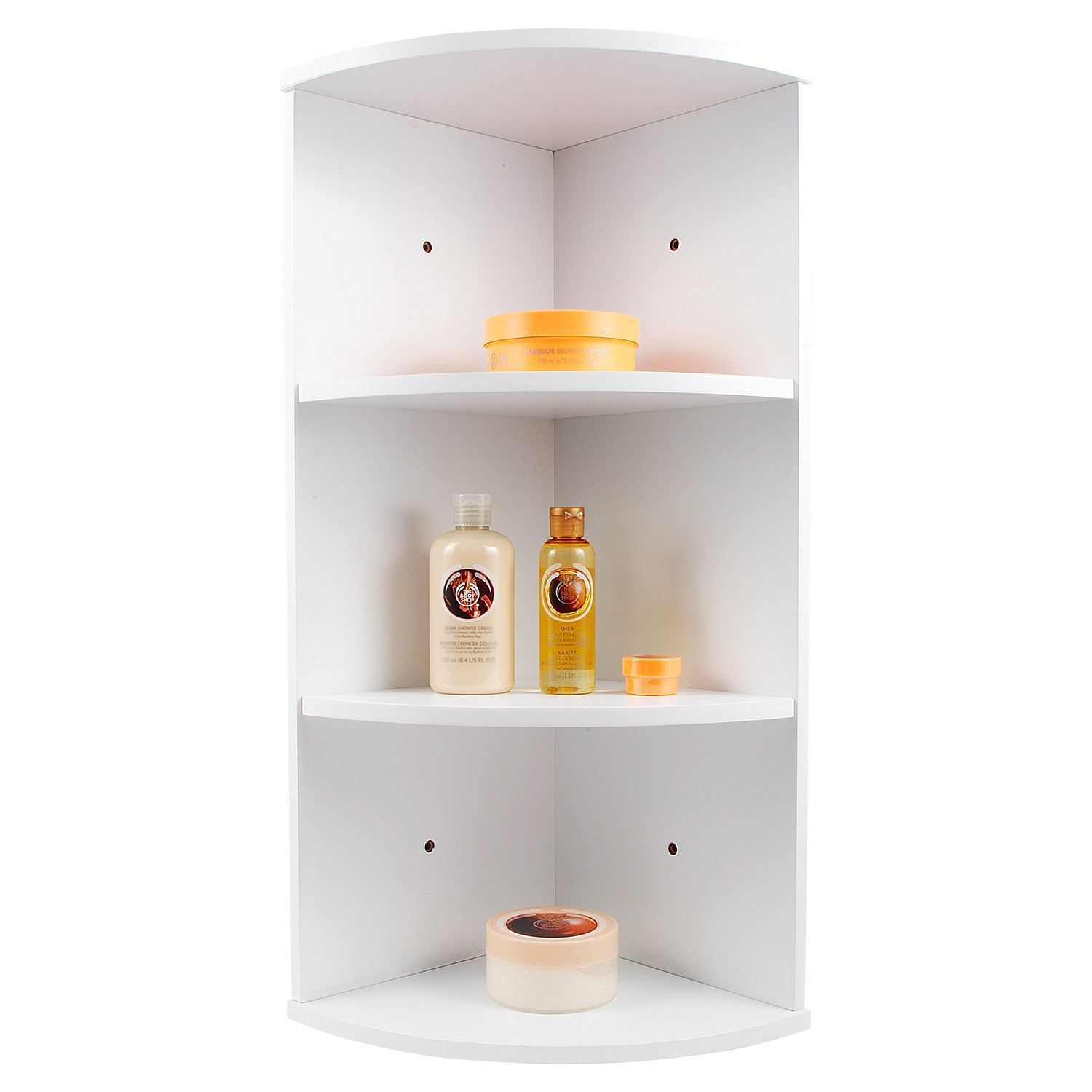 3 tier white wooden corner wall mounted bathroom storage - White bathroom corner shelf unit ...