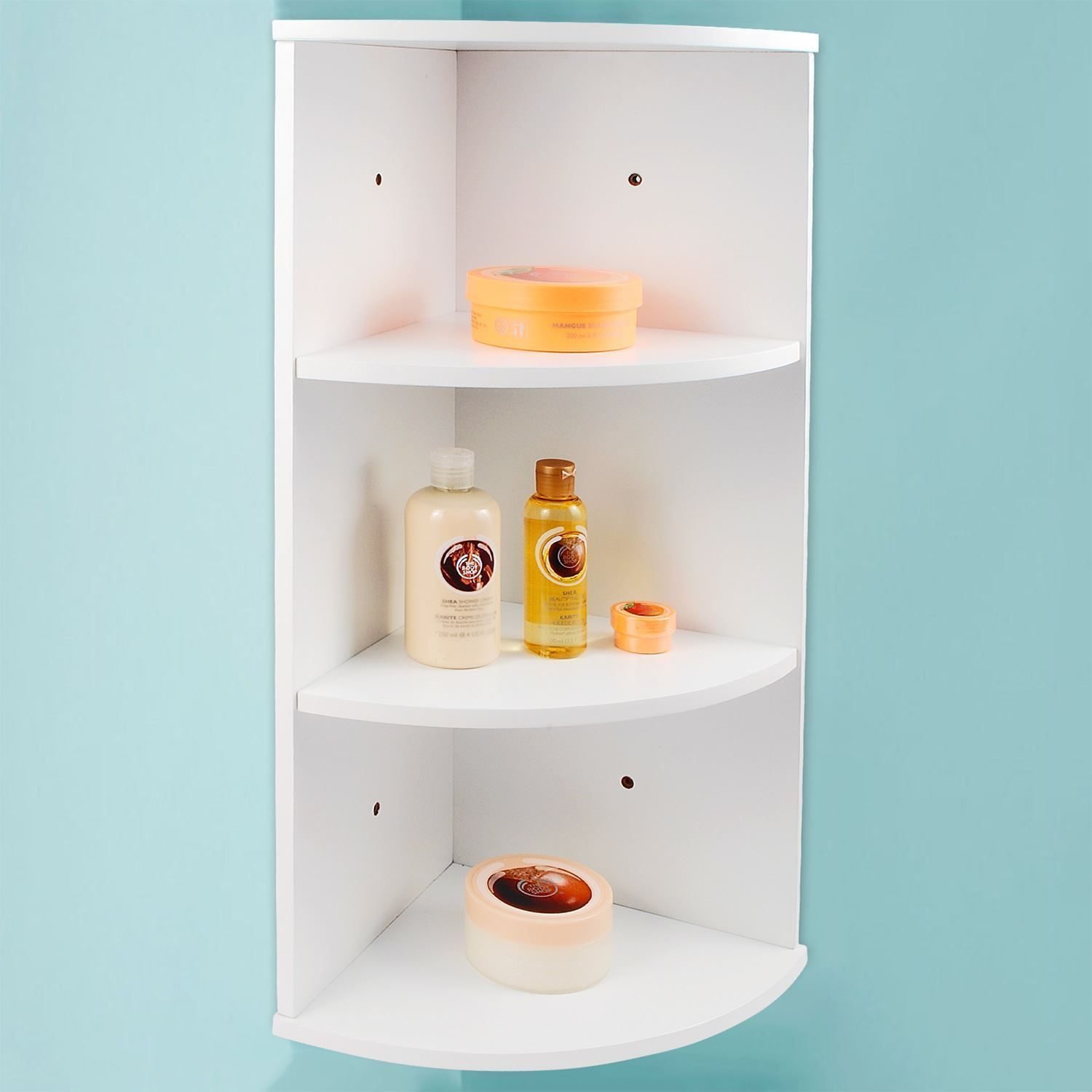 3 tier white wooden corner wall mounted bathroom storage - Wall mounted bathroom storage units ...