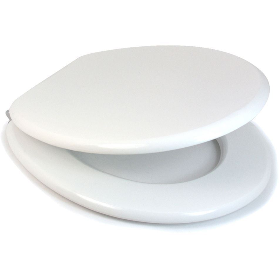"""Softly Closing Heavy Duty Toilet Seat Slow Closing Seat 18/"""" Mdf Stainless Steel"""