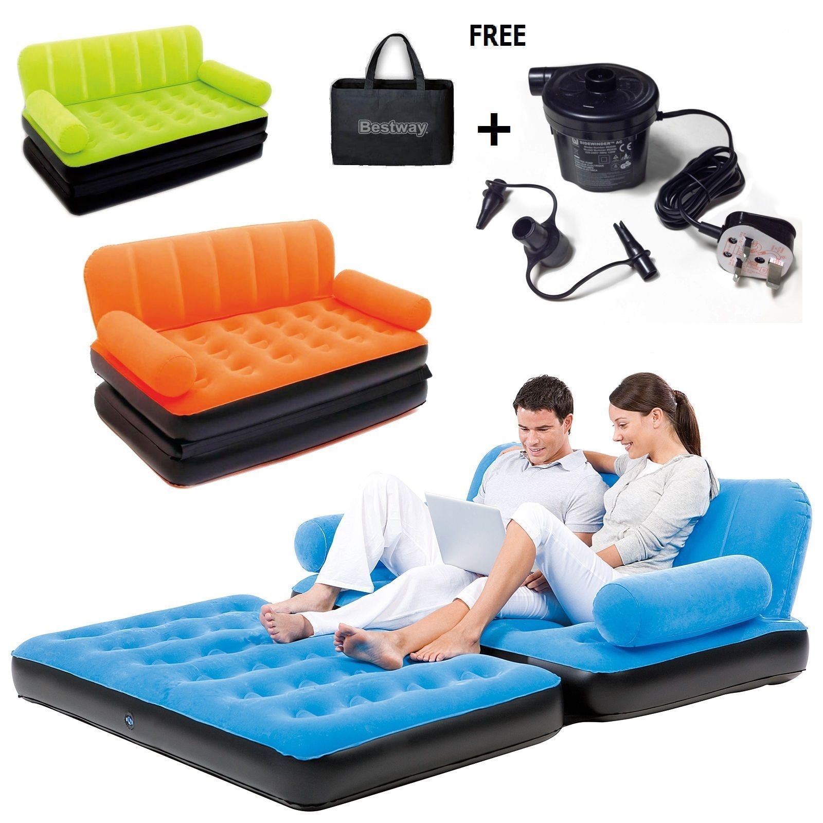 f45d2e254e7 Details about NEW BESTWAY ORANGE INFLATABLE FURNITURE DOUBLE SOFA COUCH AIR  PUMP BED MATTRESS