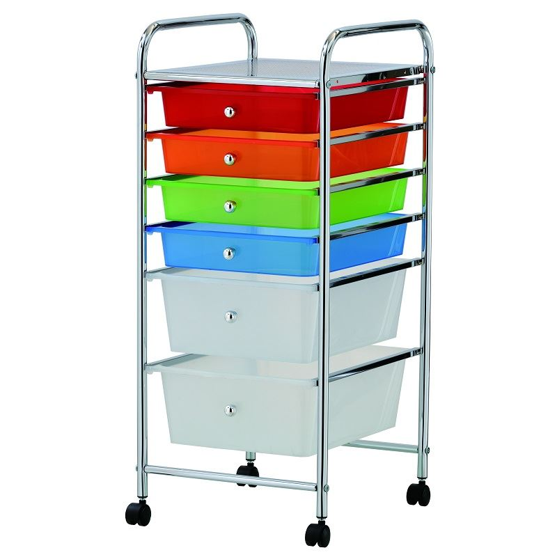 new coloured 6 drawer trolley storage portable cart home office with wheels ebay. Black Bedroom Furniture Sets. Home Design Ideas