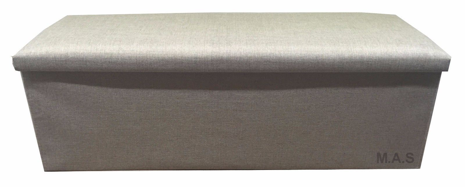 LARGE-3-SEATER-GREY-OR-BEIGE-FAUX-LINEN-  sc 1 st  eBay & LARGE 3 SEATER GREY OR BEIGE FAUX LINEN STORAGE BOX FOOT STOOL SEAT ...