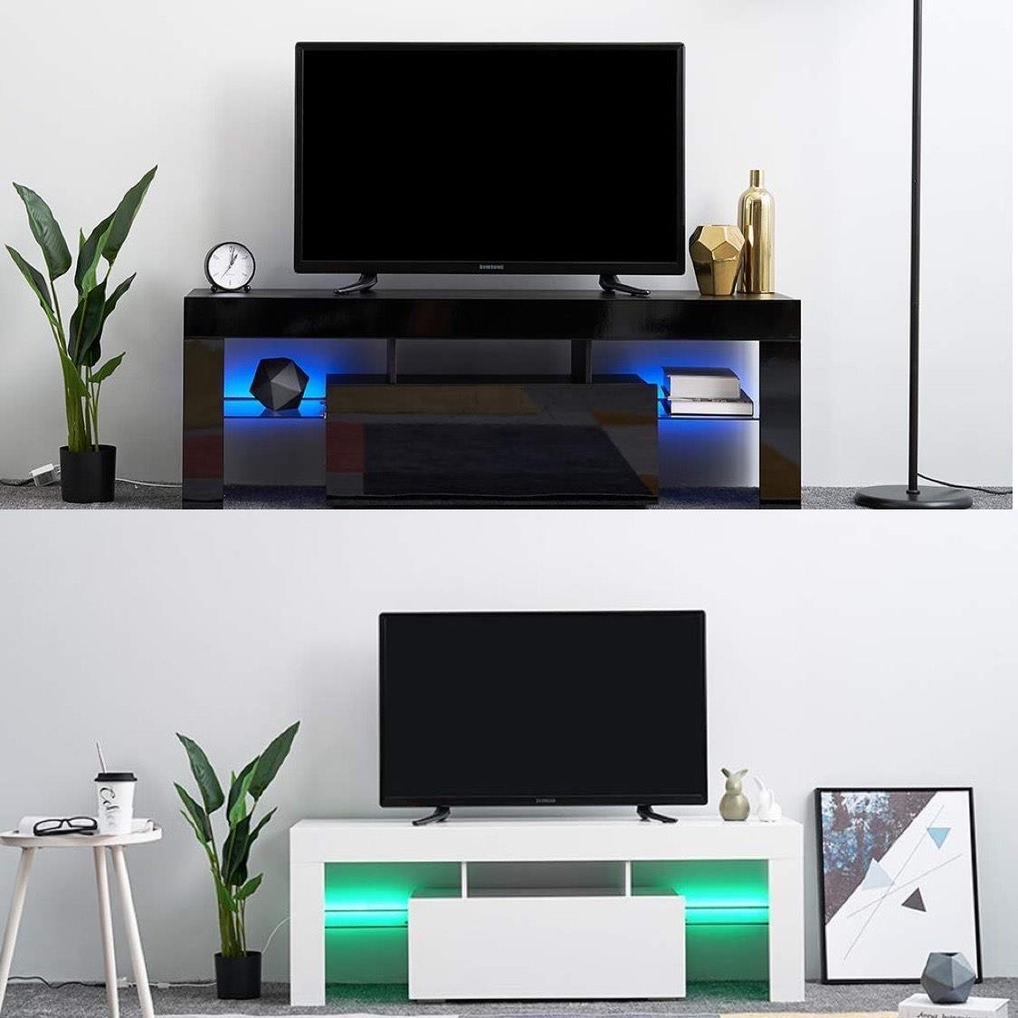 White Empire Trading LED Sideboard 1 Door Storage Cabinet Cupboard Display Stand High Gloss