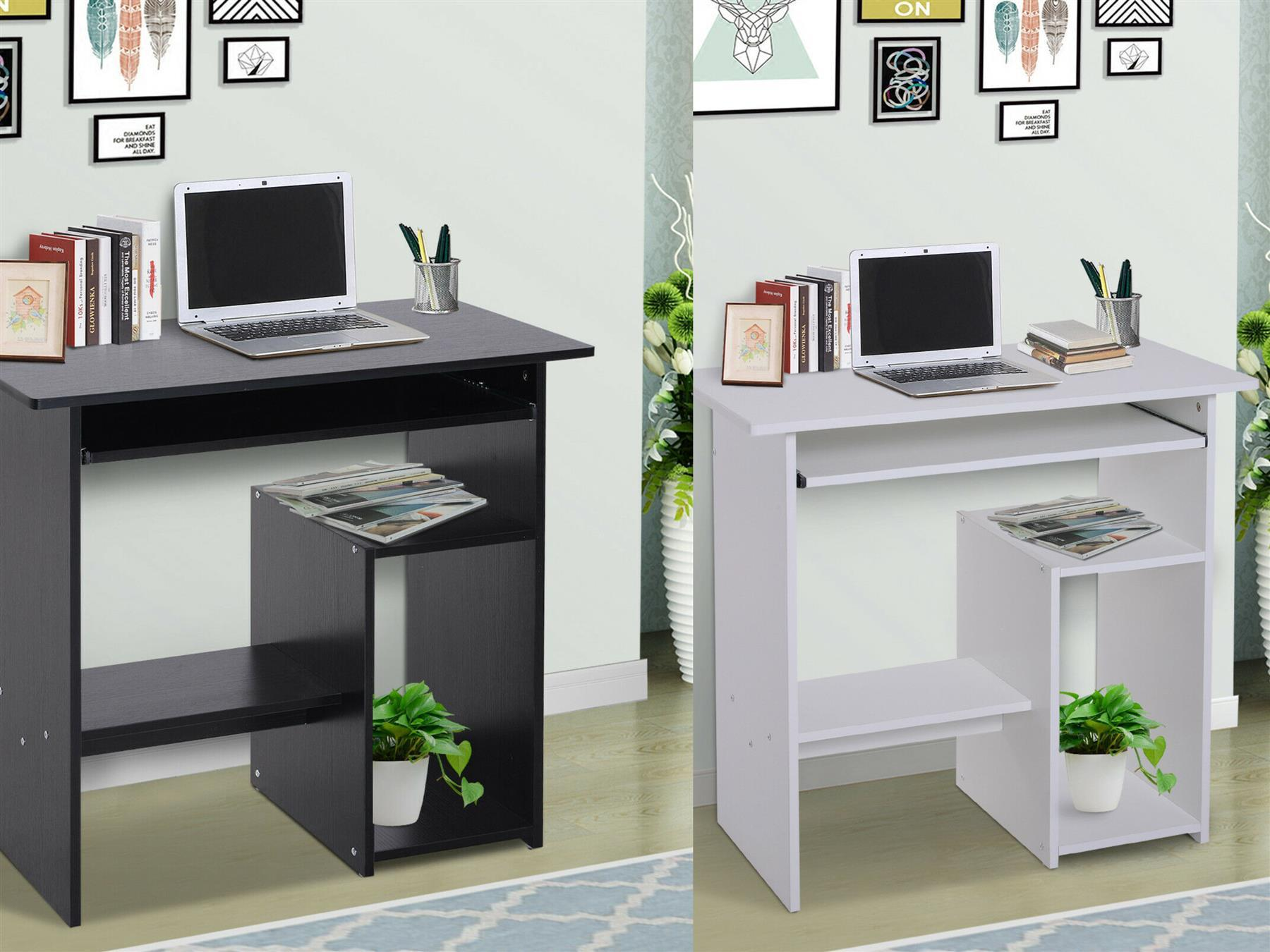 Details about Compact Small Computer Table Wooden Desk Keyboard Tray  Storage Shelf Corner