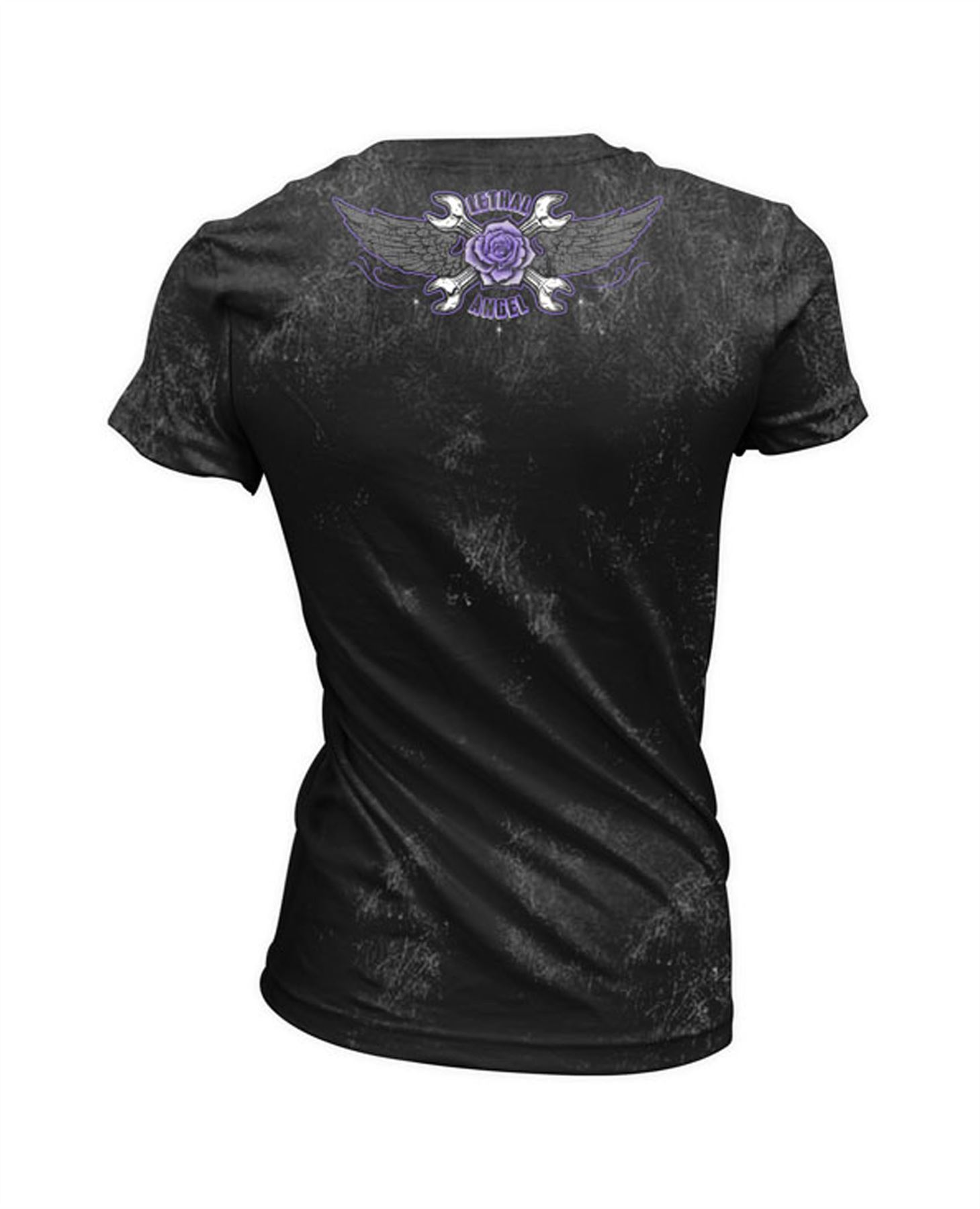 Lethal Threat Motorcycles Over Diamonds Womens Short Sleeve T-Shirt Black