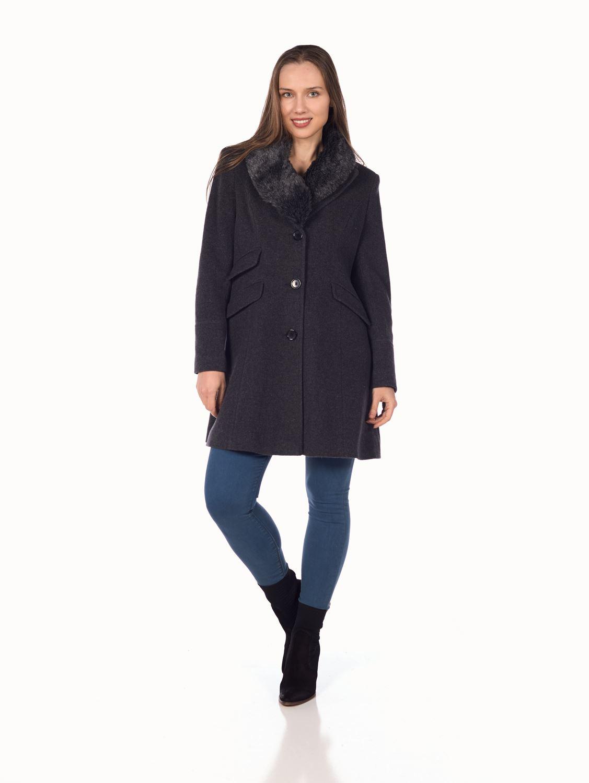 De-La-Creme-Womens-Wool-Blend-Faux-Fur-Collar-Midi-Coat thumbnail 13