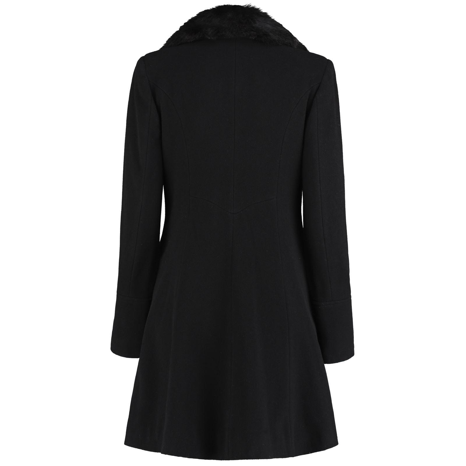 De-La-Creme-Womens-Wool-Blend-Faux-Fur-Collar-Midi-Coat thumbnail 6