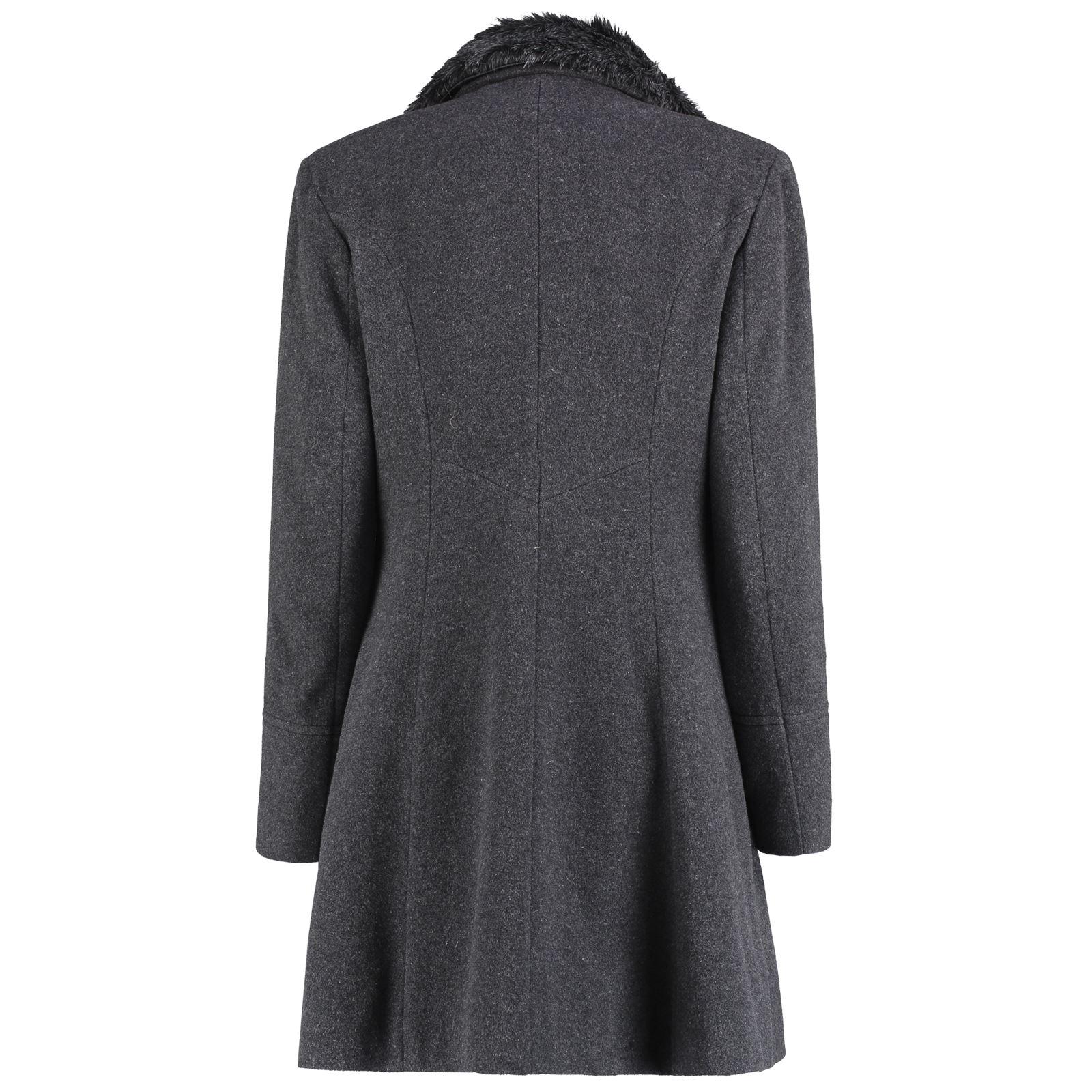De-La-Creme-Womens-Wool-Blend-Faux-Fur-Collar-Midi-Coat thumbnail 16