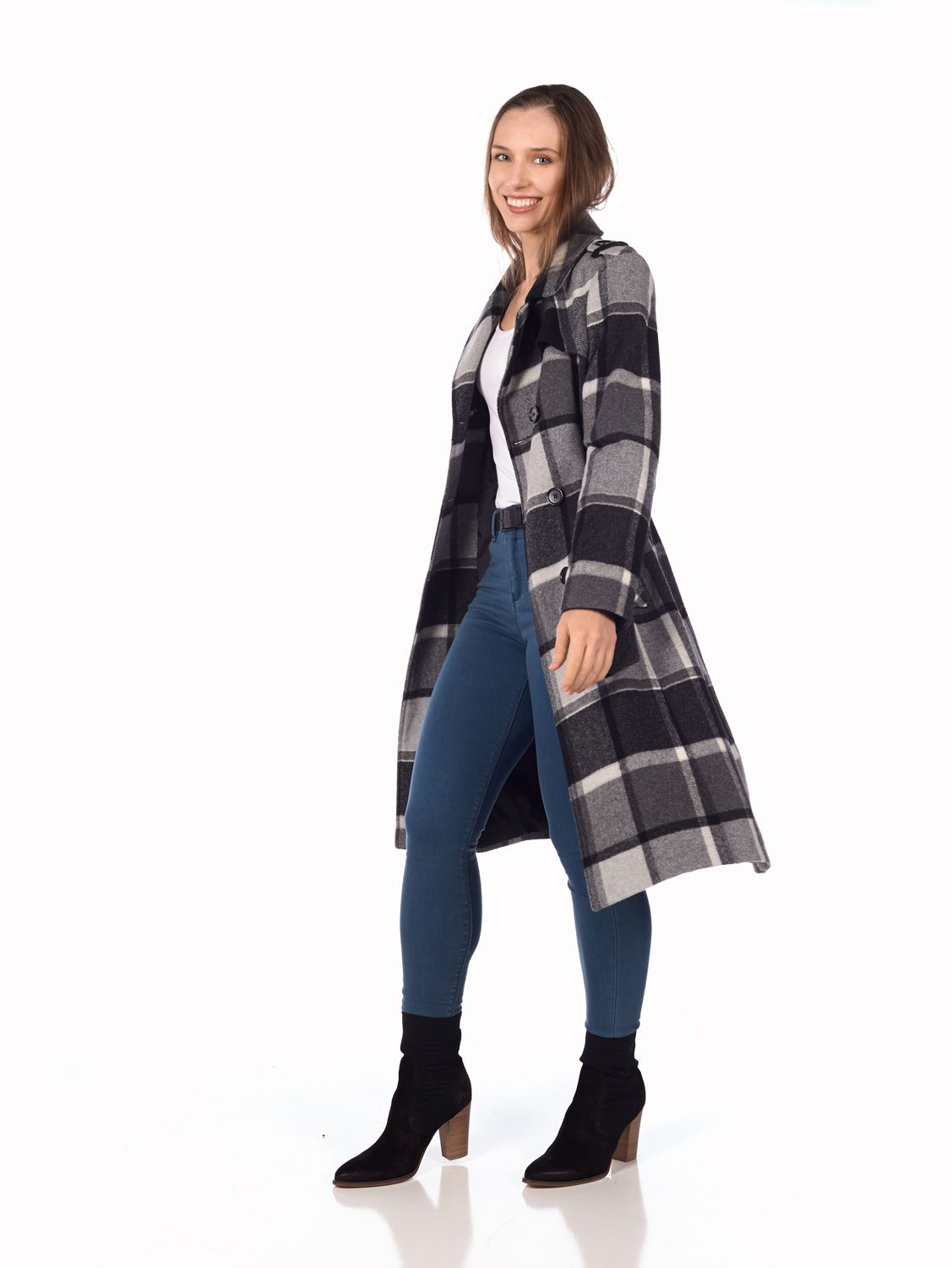 Trench Creme Black Women's Military Wool brown Coat Blend Check De La Check ZTwqBZ