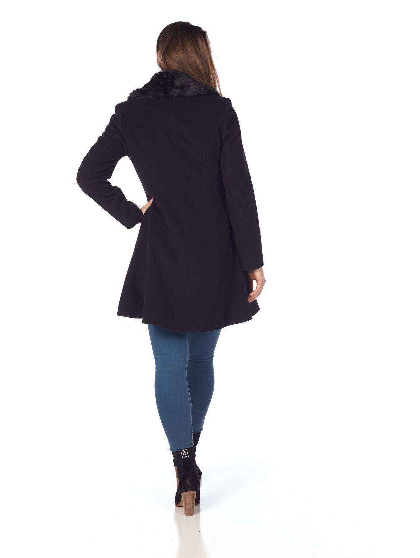 De-La-Creme-Womens-Wool-Blend-Faux-Fur-Collar-Midi-Coat thumbnail 4