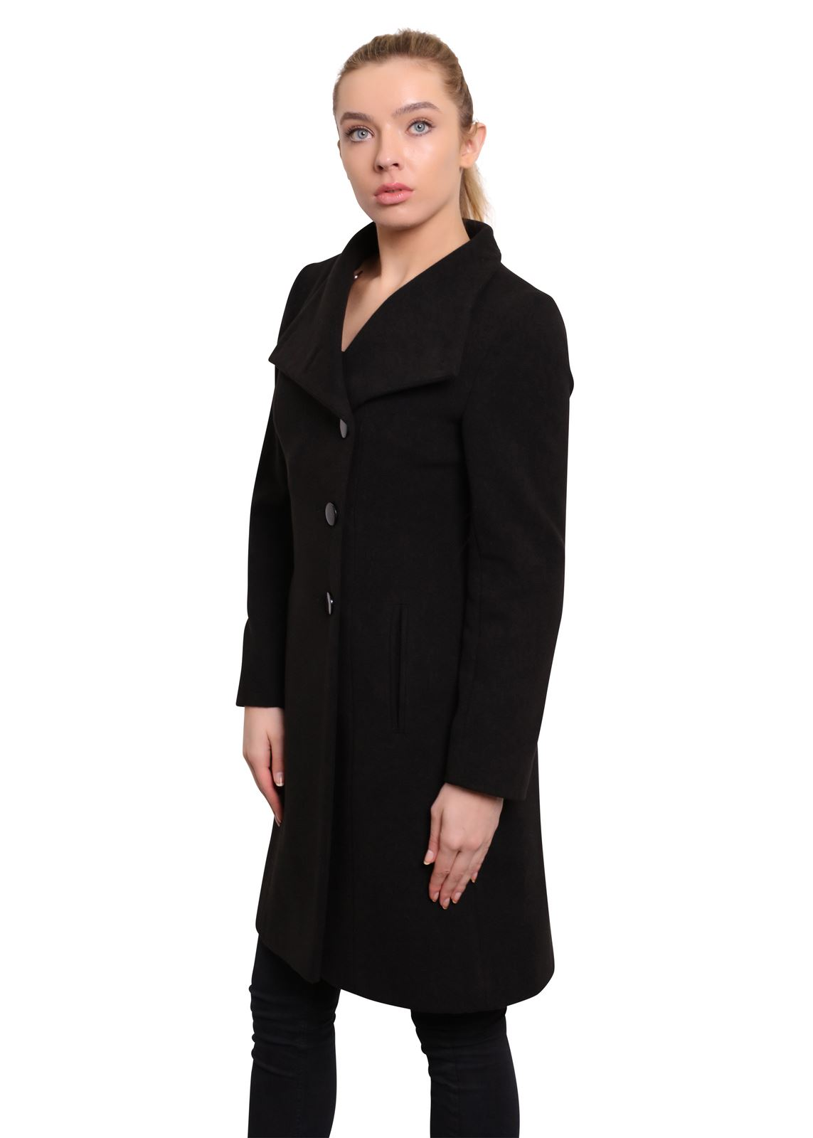 De-La-Creme-Womens-Funnel-Neck-Wool-amp-Cashmere-Blend-Keep-It-Simple-Coat thumbnail 4