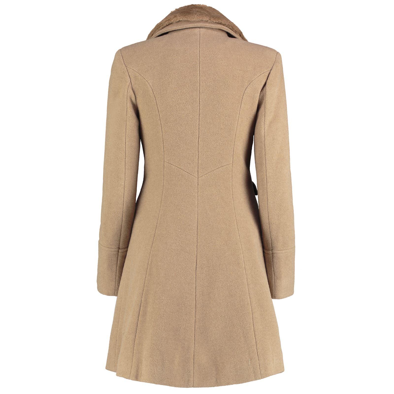 De-La-Creme-Womens-Wool-Blend-Faux-Fur-Collar-Midi-Coat thumbnail 11