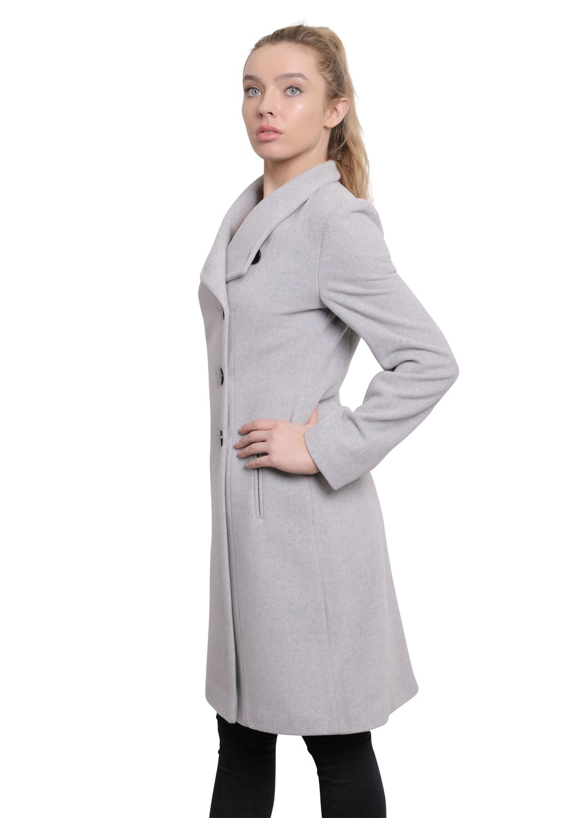 De-La-Creme-Womens-Funnel-Neck-Wool-amp-Cashmere-Blend-Keep-It-Simple-Coat thumbnail 18