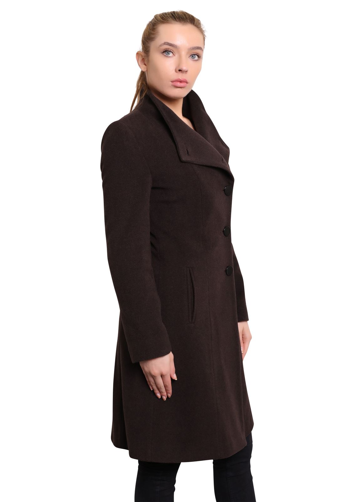 De-La-Creme-Womens-Funnel-Neck-Wool-amp-Cashmere-Blend-Keep-It-Simple-Coat thumbnail 8