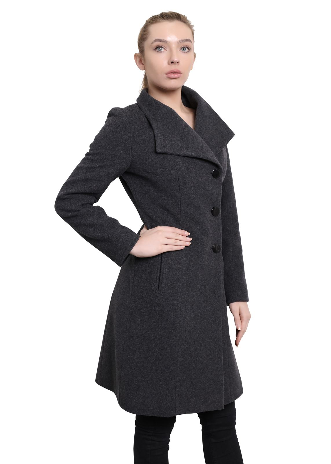 De-La-Creme-Womens-Funnel-Neck-Wool-amp-Cashmere-Blend-Keep-It-Simple-Coat thumbnail 13