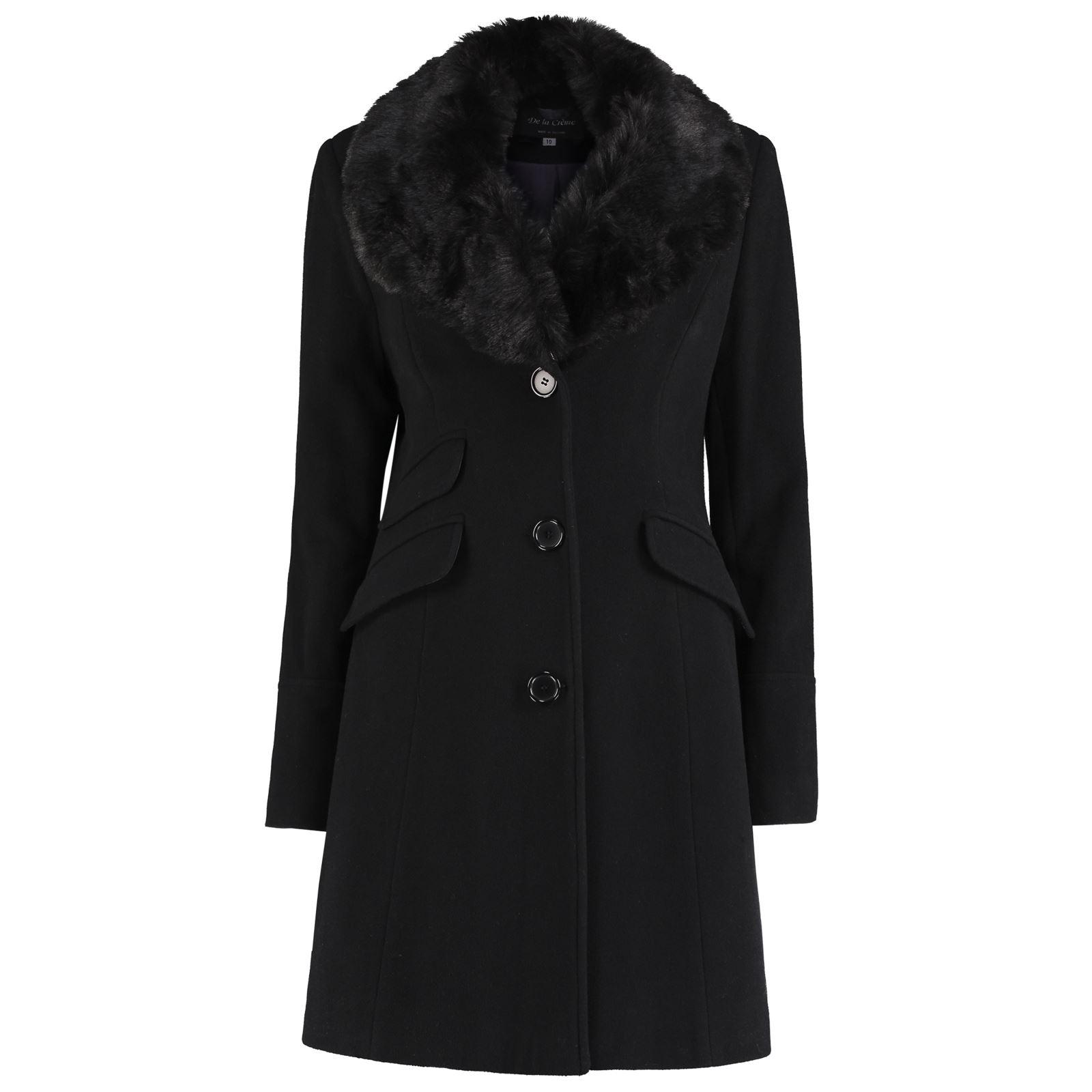De-La-Creme-Womens-Wool-Blend-Faux-Fur-Collar-Midi-Coat thumbnail 5