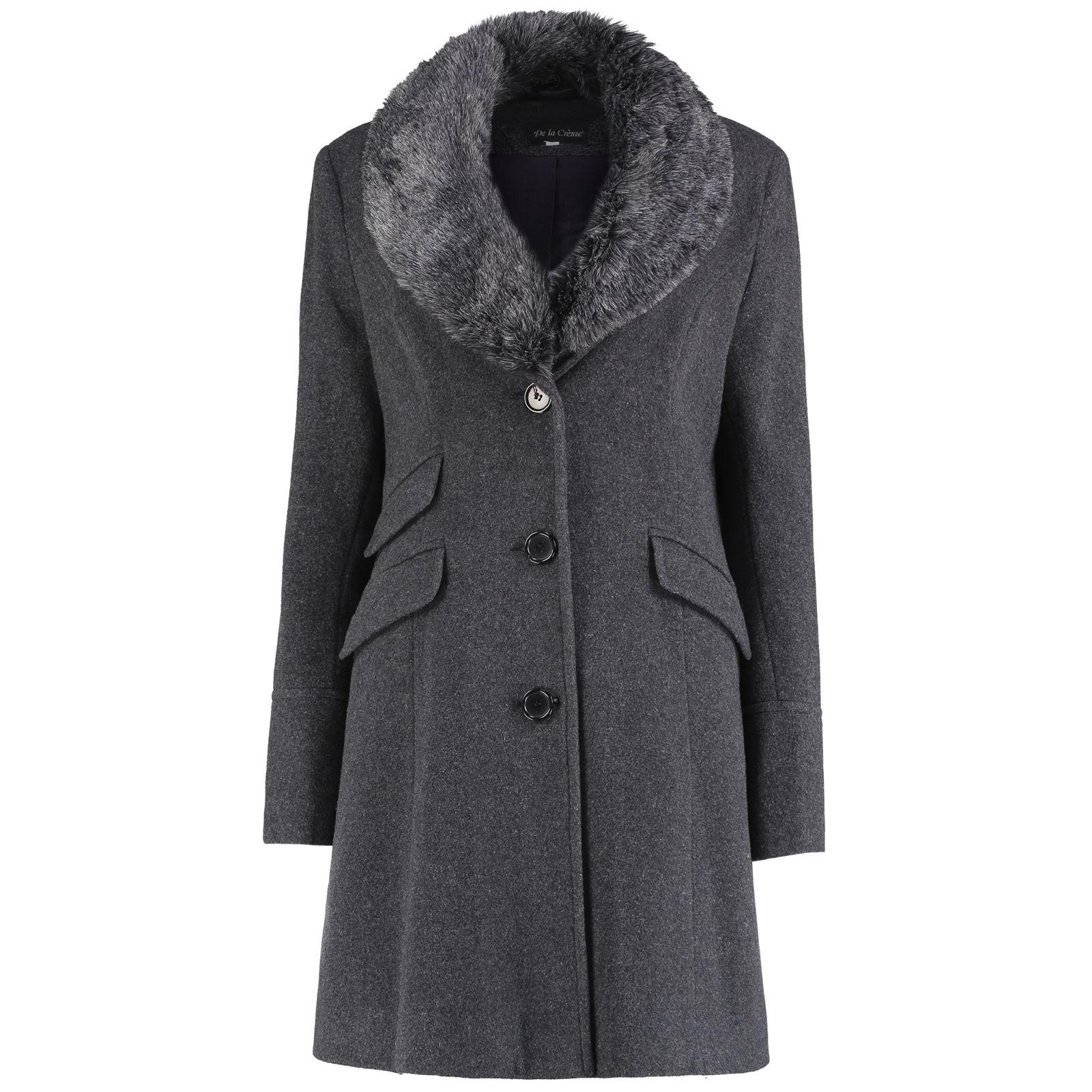 De-La-Creme-Womens-Wool-Blend-Faux-Fur-Collar-Midi-Coat thumbnail 15
