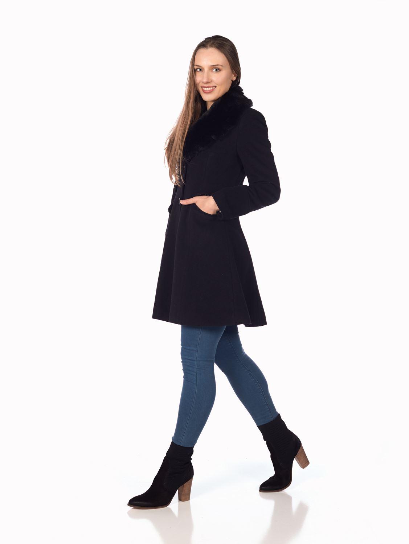 De-La-Creme-Womens-Wool-Blend-Faux-Fur-Collar-Midi-Coat thumbnail 3