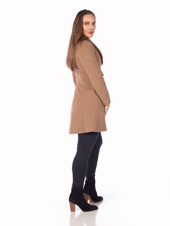 De-La-Creme-Womens-Wool-Blend-Faux-Fur-Collar-Midi-Coat thumbnail 8