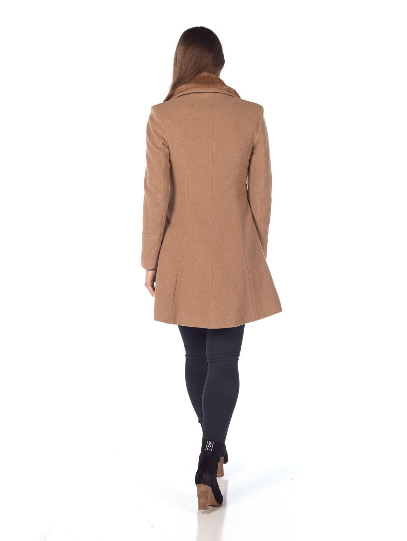 De-La-Creme-Womens-Wool-Blend-Faux-Fur-Collar-Midi-Coat thumbnail 9