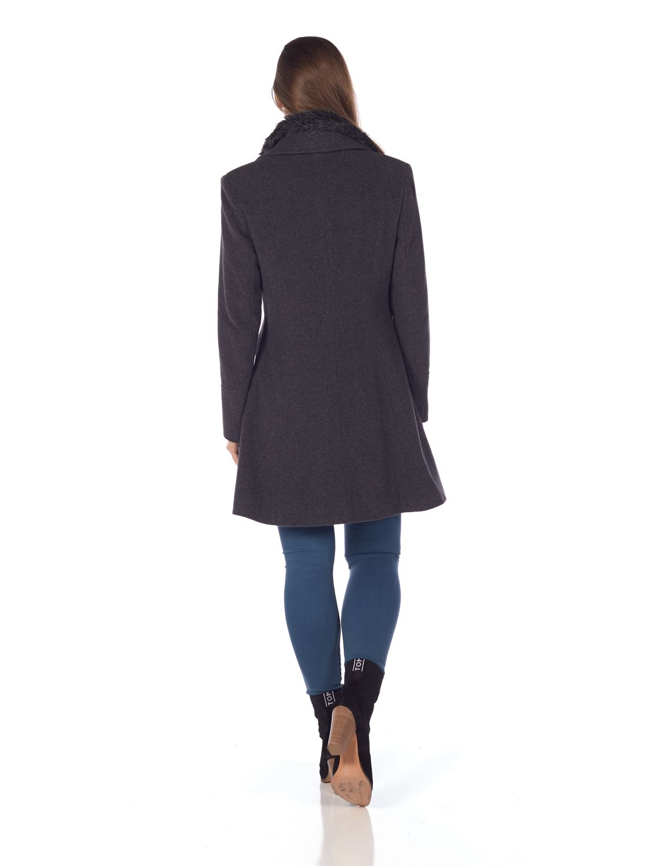 De-La-Creme-Womens-Wool-Blend-Faux-Fur-Collar-Midi-Coat thumbnail 14