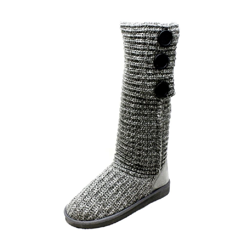 Girls Knitted flat Knee length or fold down ankle boots Girls