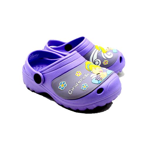 Childrens rubber clog style beach shoes / sandals with princess character front