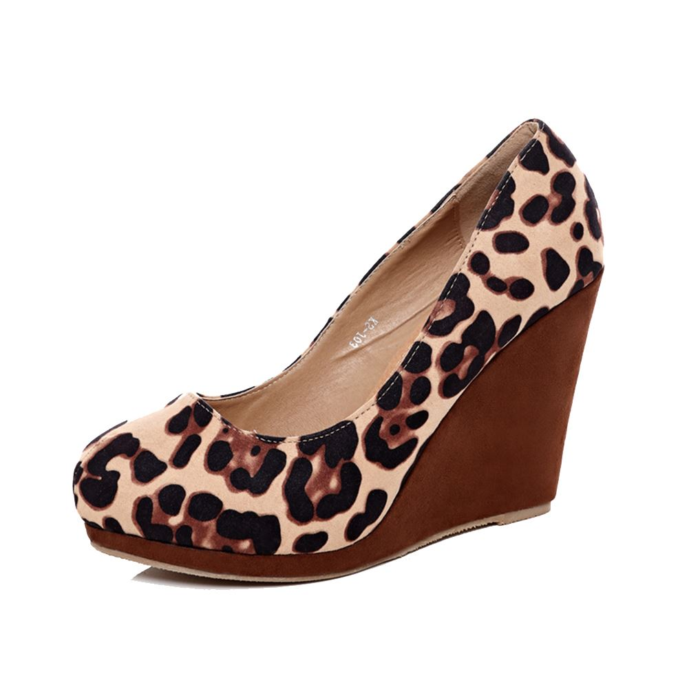 Leopard print round toe high heel wedge court shoes