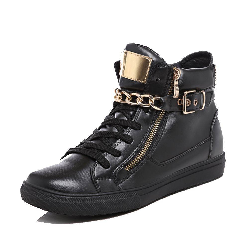 Black hi-top trainers with gold chain