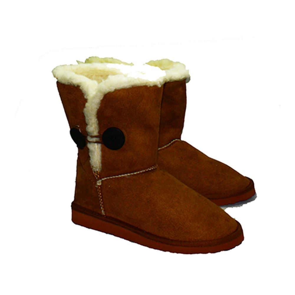 Tan Brown Fur Edged Button Detail Winter Snugg Fitting Boots ow4dt
