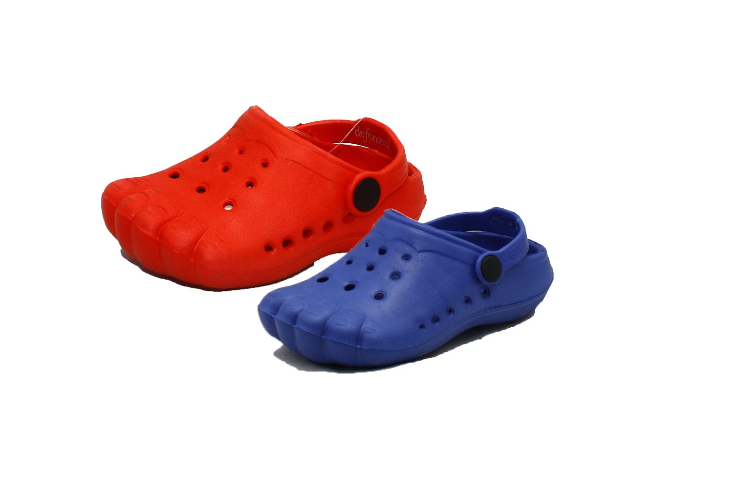 Blue rubber clog style beach shoes / sandals with spider to front aSzQE5zpvl