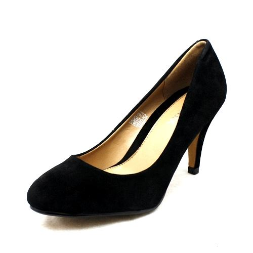SendIt4Me Black Matt Faux Leather Low Heel Court Shoes tPleV