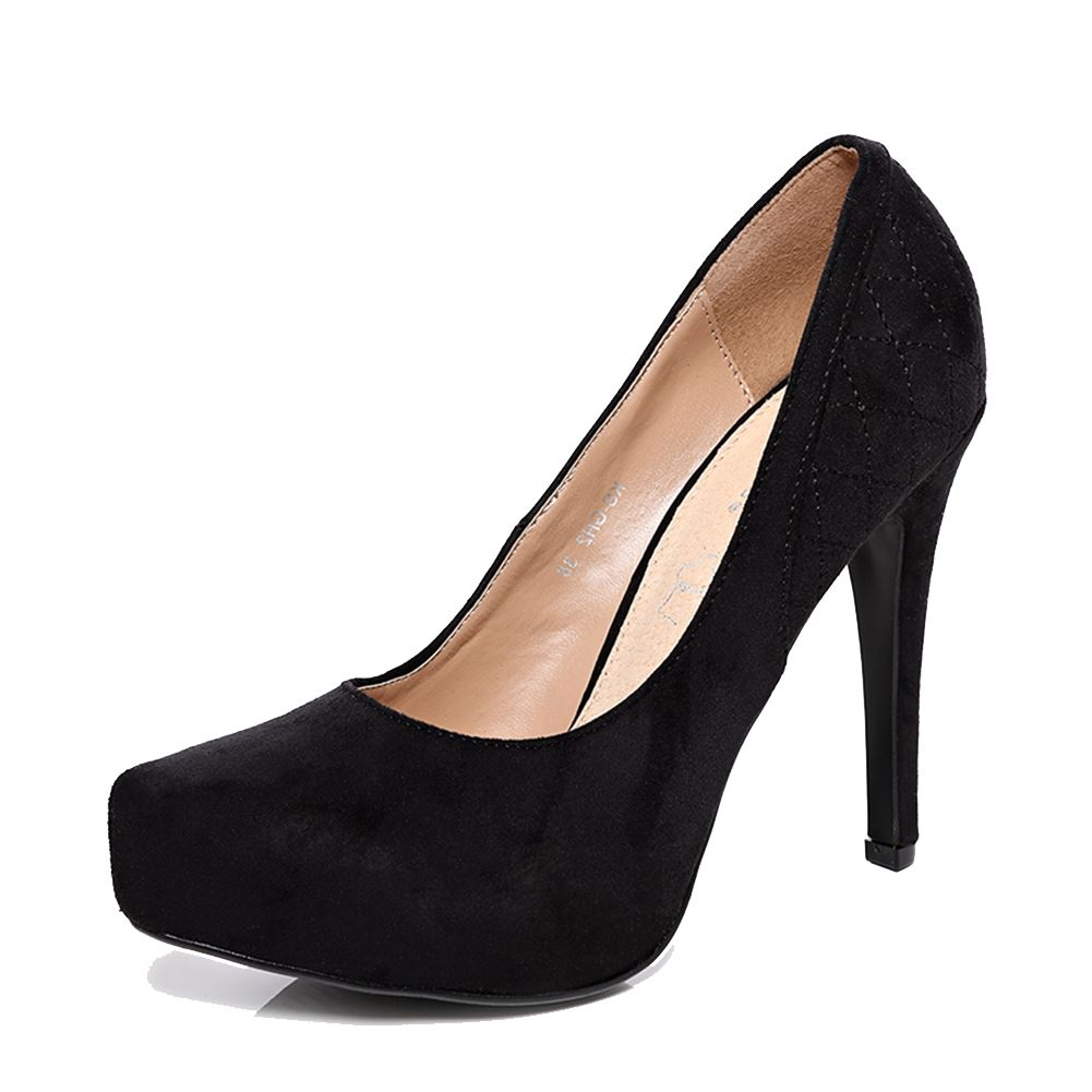 faux suede high heel court shoes with quilted heel detail