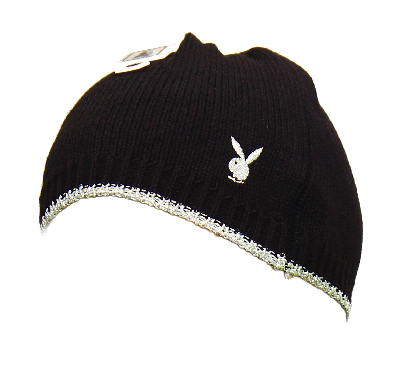 Black-Silver-Knitted-Playboy-Beanie-Hat
