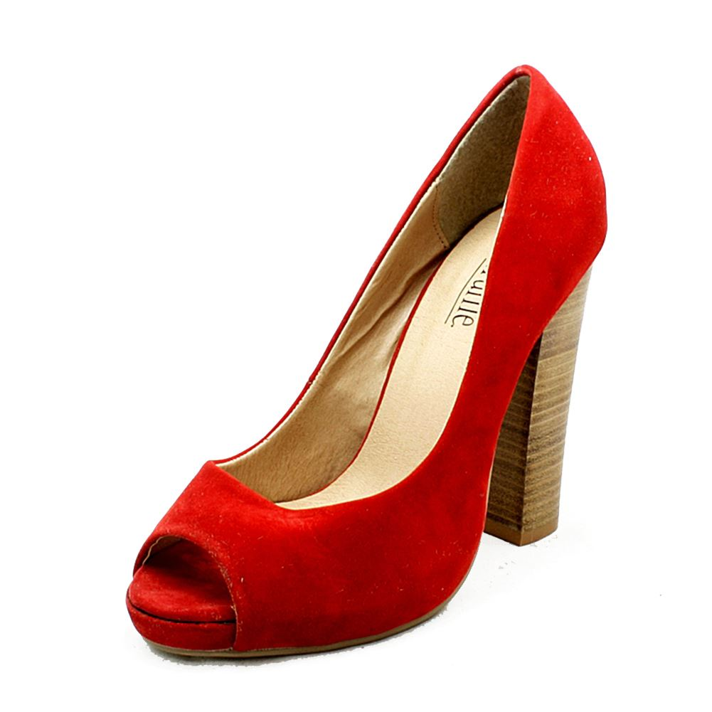 Red suedette peep toe high block heel court shoes ilqVVDf9E