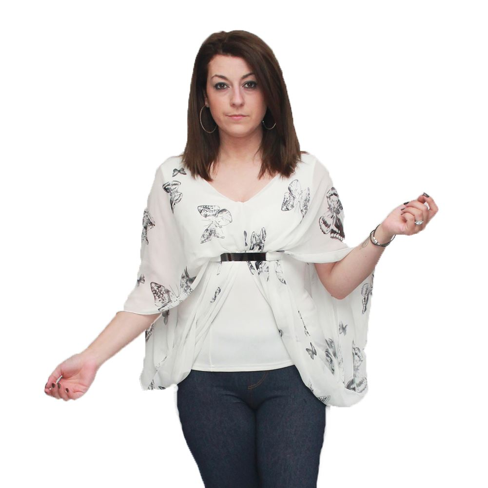 White / black coloured butterfly pattern top