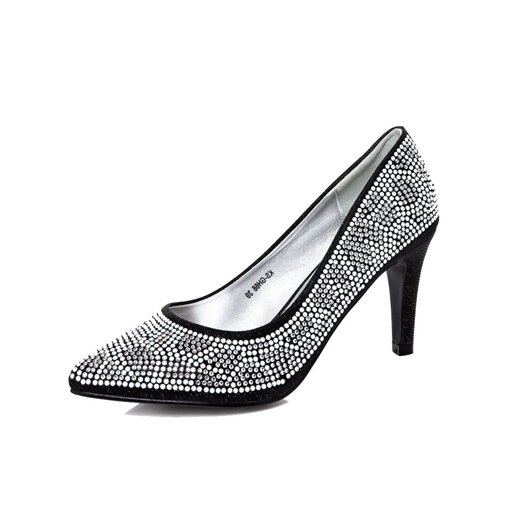 Black sparkly party / prom court shoes with pointy toe