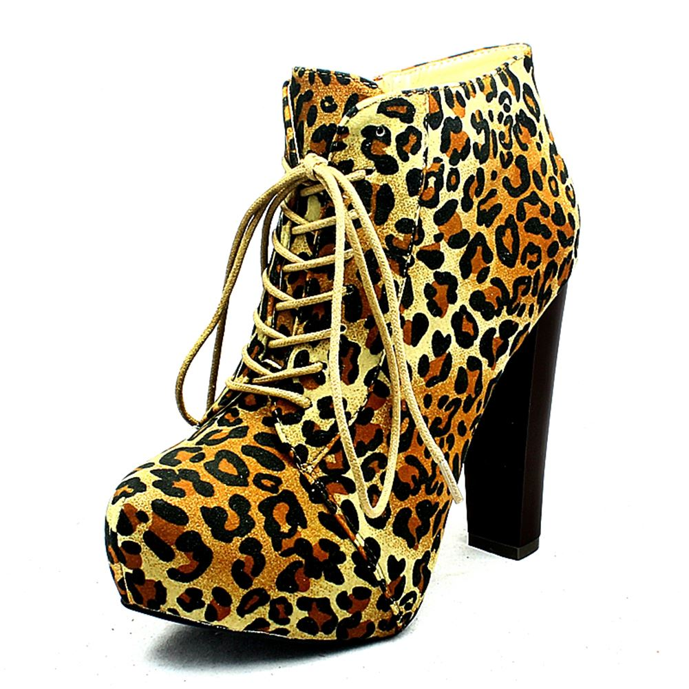 Ladies-Suedette-lace-up-block-heel-platform-ankle-boots