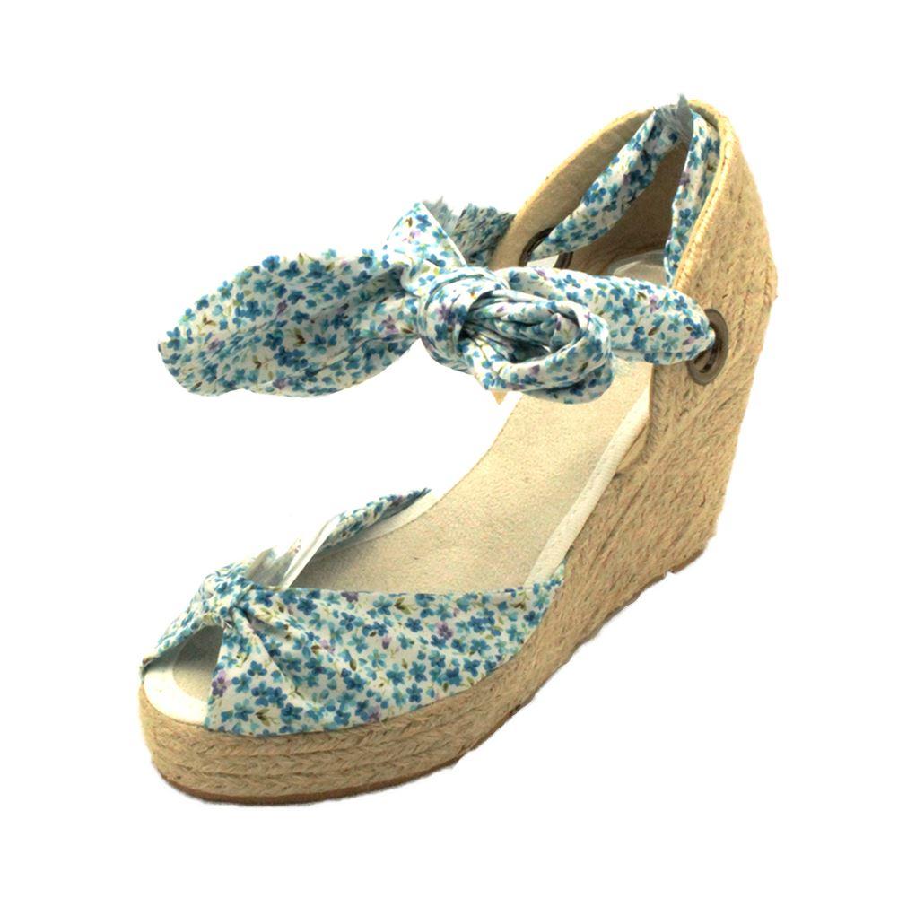 Señoras medio la cuña del talón Lona Sandalias / Zapatos Con Lazo Cierre