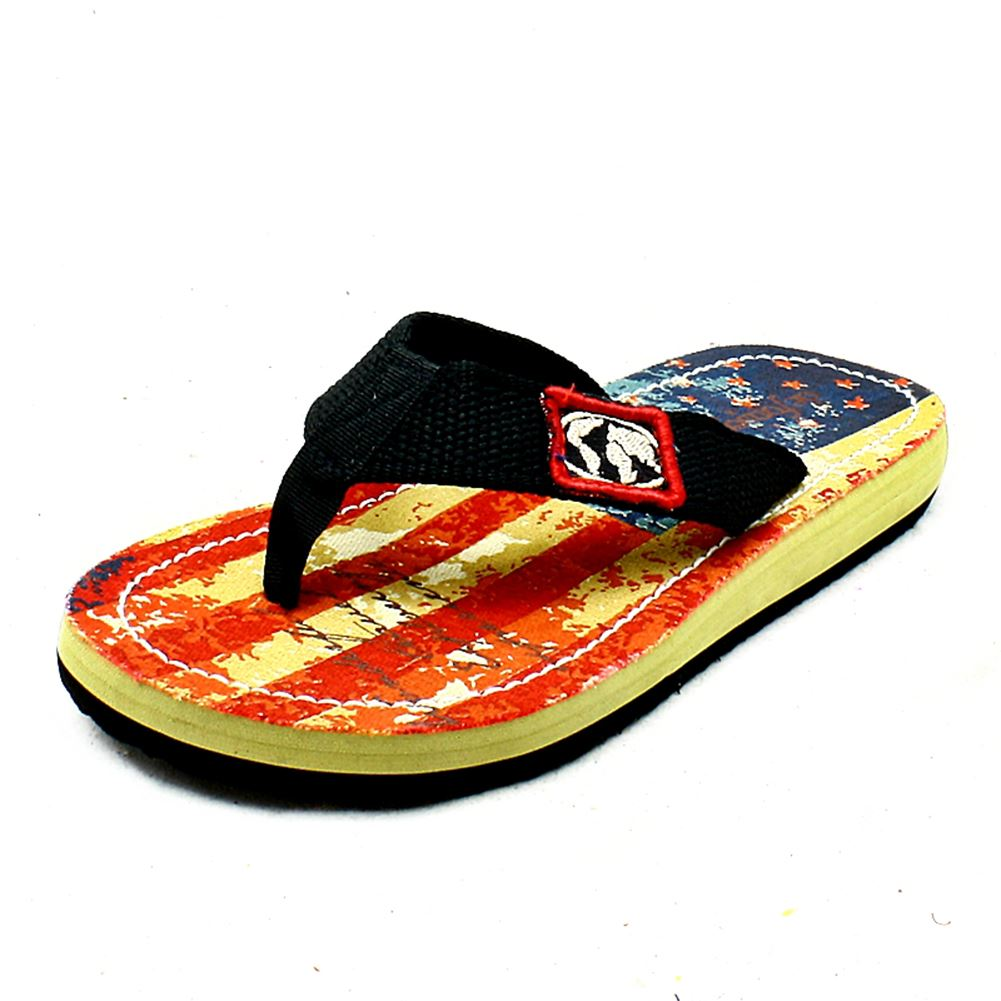 Boys Flag Print Canvas flip flops